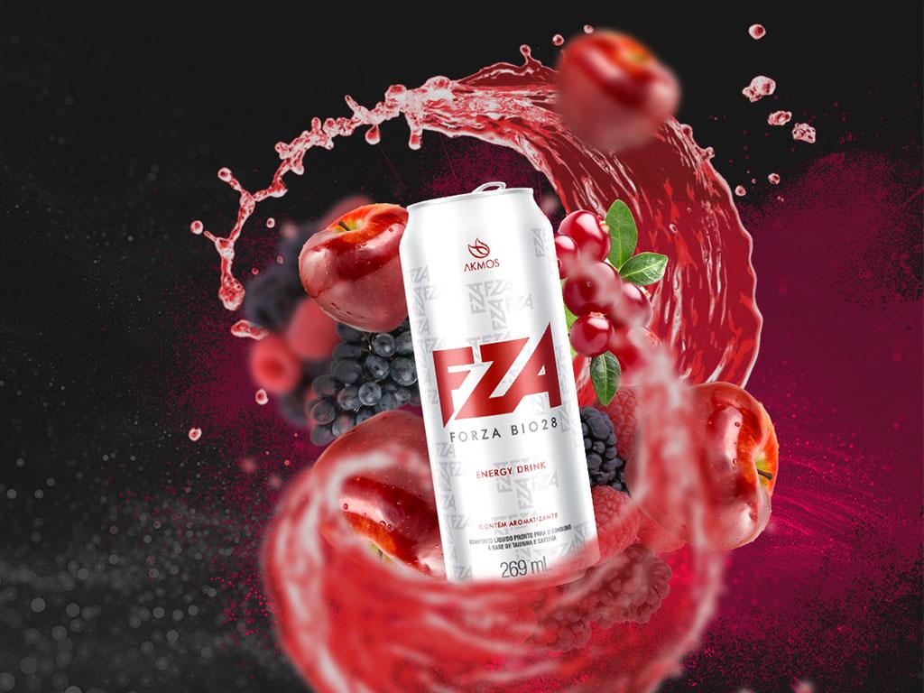 Embalagem desenvolvida pela Chairô para o produto FZA - Forza Bio28 Akmos
